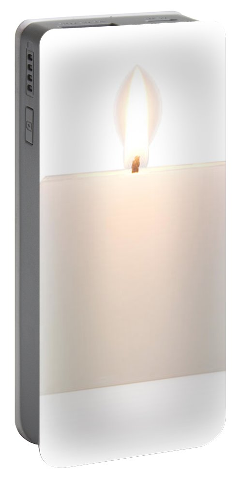 Candle Portable Battery Charger featuring the photograph Cubic Burning Candle by Atiketta Sangasaeng
