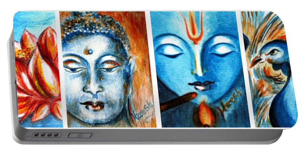 India Portable Battery Charger featuring the painting Cultural Diversity by Harsh Malik
