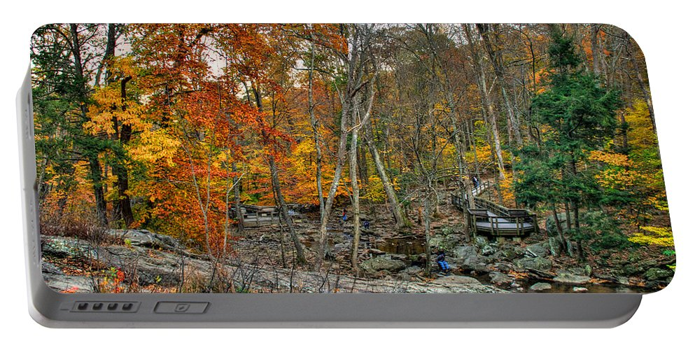 Cunningham Falls Portable Battery Charger featuring the photograph Cunningham Falls Viewing Platforms by Mark Dodd