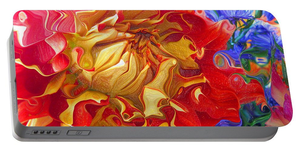 Abstract Portable Battery Charger featuring the photograph Red And Yellow Dahlia by Kathy Moll