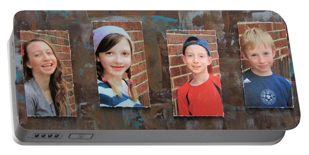 Custom Portable Battery Charger featuring the mixed media Custom Photo Portrait Group by Anita Burgermeister