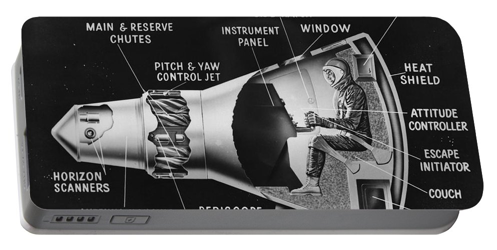 Mercury Portable Battery Charger featuring the digital art Cutaway Drawing Of The Project Mercury by Stocktrek Images