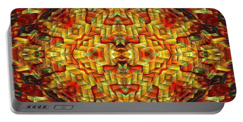 Mandala Portable Battery Charger featuring the digital art Cyberbraid Mandala by Richard Jones