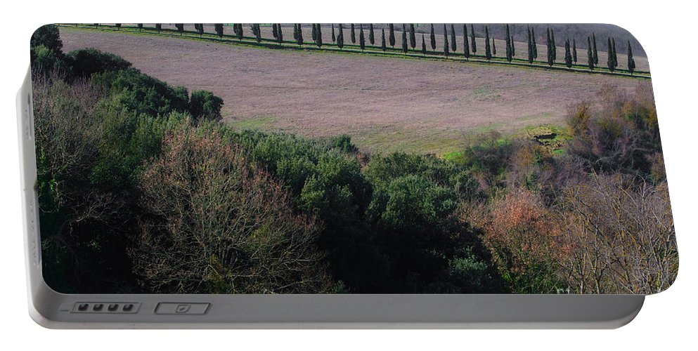 Tuscany Portable Battery Charger featuring the photograph Cypress Allee by Mats Silvan