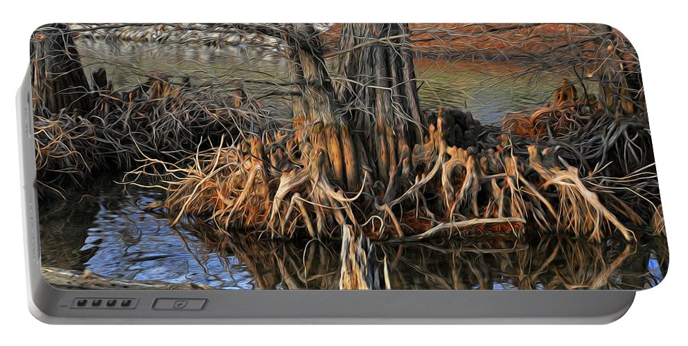 Cypress Portable Battery Charger featuring the painting Cypress Knees by Tom Bell