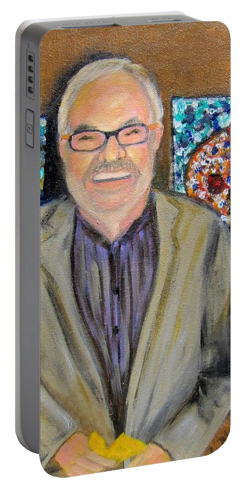 Dad Portable Battery Charger featuring the painting Dad Shows His Art by Laurie Morgan