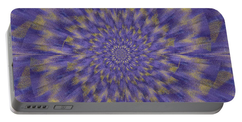 Fractal Portable Battery Charger featuring the digital art Dahlia Akita by Mark Greenberg