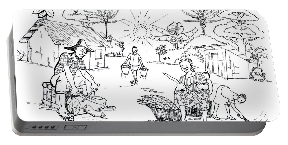 Africa Portable Battery Charger featuring the drawing Daily Life In South And Center Cameroon 03 by Emmanuel Baliyanga