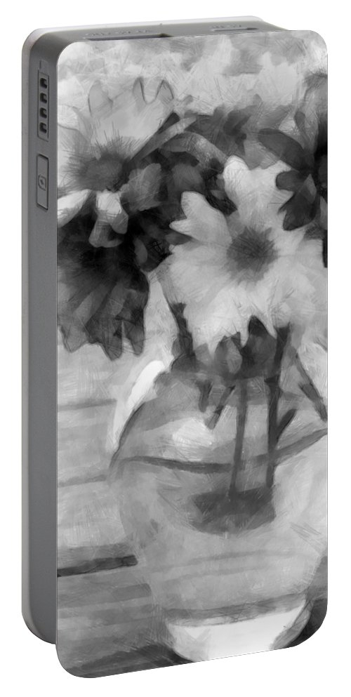 Daisy Portable Battery Charger featuring the photograph Daisy Crazy Bw Revisited by Angelina Vick