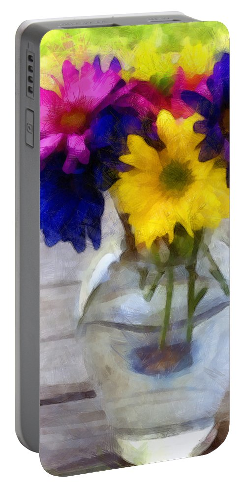 Daisy Portable Battery Charger featuring the photograph Daisy Crazy Revisited by Angelina Vick