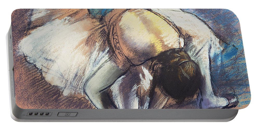 Edgar Degas Portable Battery Charger featuring the pastel Dancer Fastening Her Pump by Edgar Degas