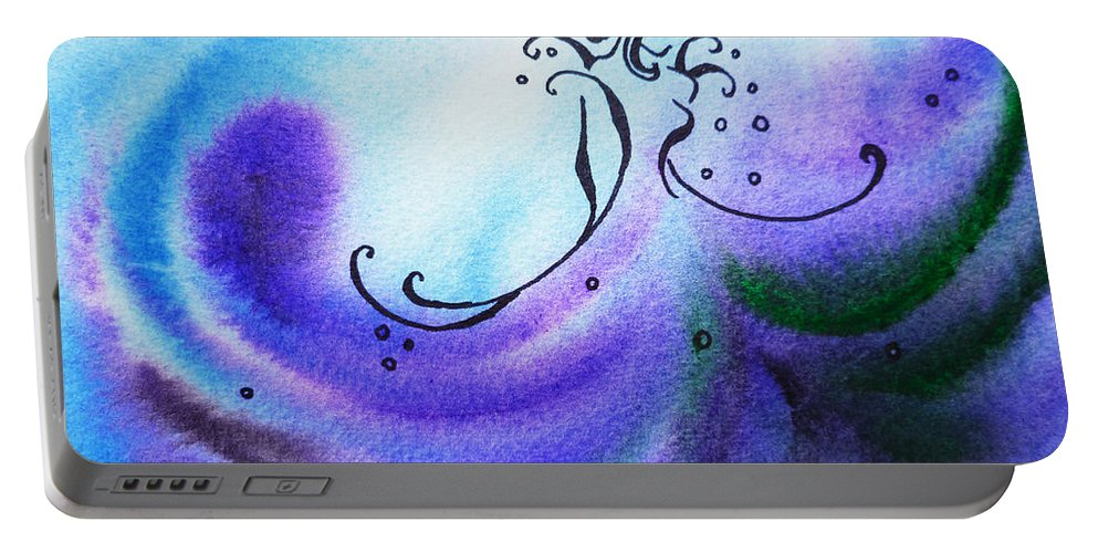 Abstract Portable Battery Charger featuring the painting Dancing Water II by Irina Sztukowski