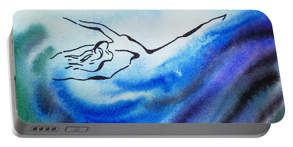 Abstract Portable Battery Charger featuring the painting Dancing Water IIi by Irina Sztukowski