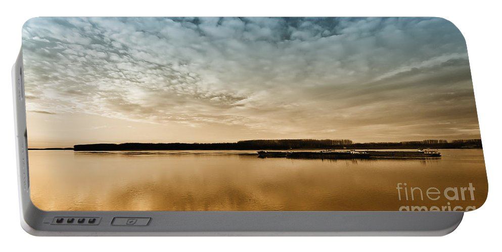 Photographs Of Sunset Portable Battery Charger featuring the photograph Danube River-sunset by Evmeniya Stankova