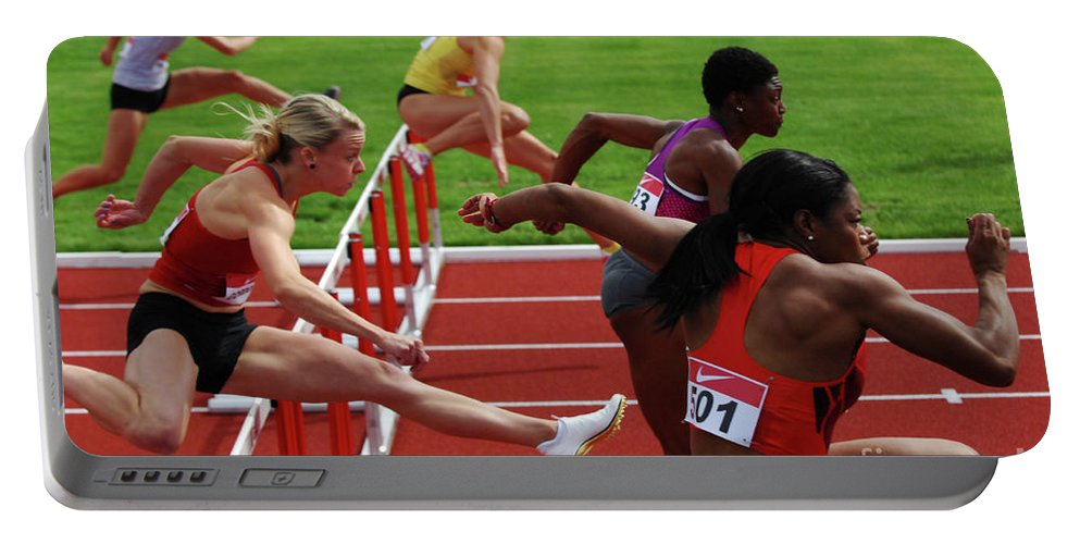 Canadian Track And Field National Championships 2011 Portable Battery Charger featuring the photograph Dash To The Finish by Bob Christopher