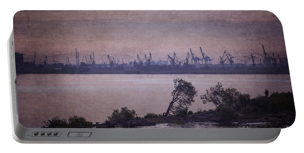 Clare Bambers Portable Battery Charger featuring the photograph Dawn On The River Neva In Russia by Clare Bambers