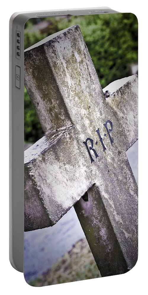 Headstone Portable Battery Charger featuring the photograph Death Concept by Tom Gowanlock