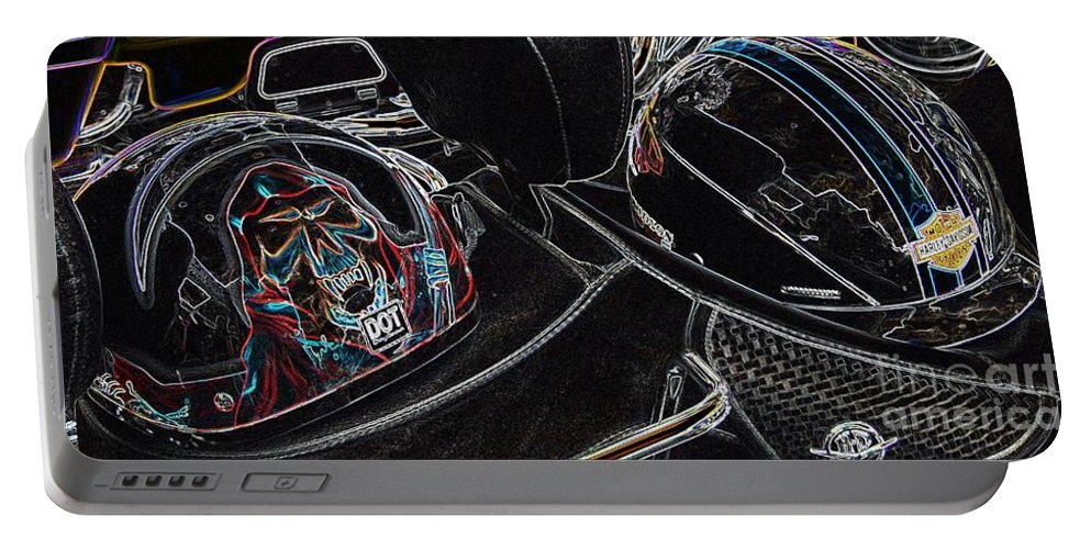 Helmet Portable Battery Charger featuring the photograph Death Metal by Anthony Wilkening