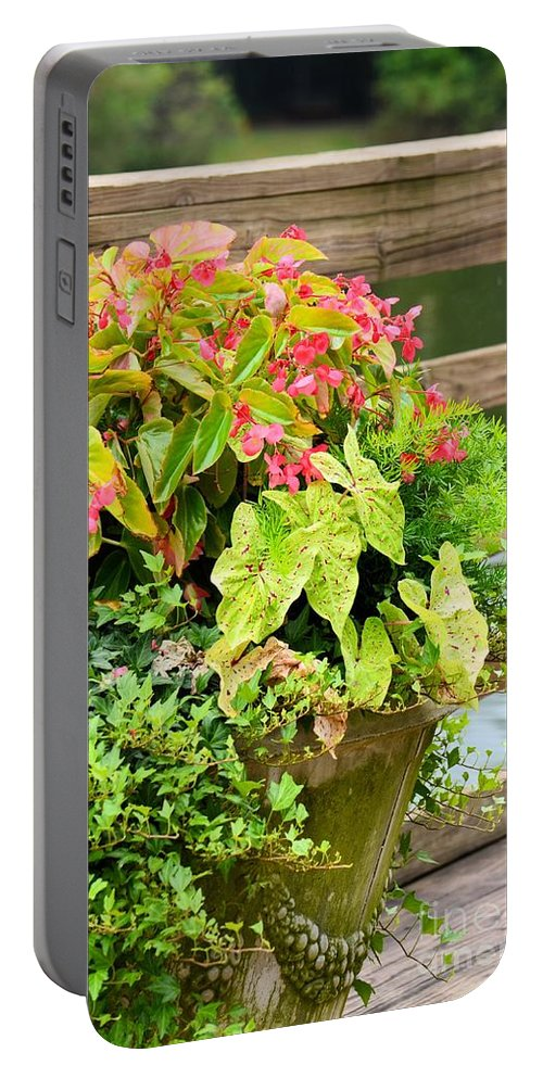 Decorated Portable Battery Charger featuring the photograph Decorated With Pink by Maria Urso