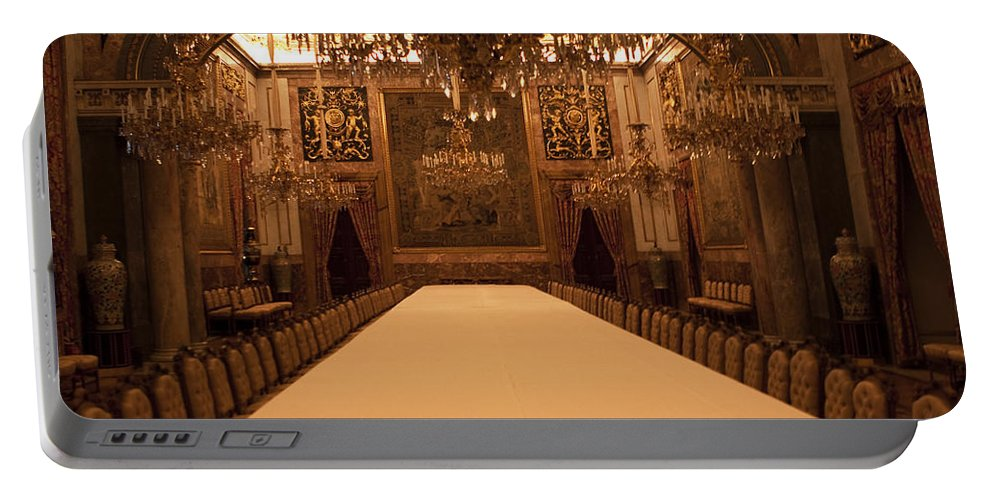 Madrid Portable Battery Charger featuring the photograph Decorative Dining by Lorraine Devon Wilke