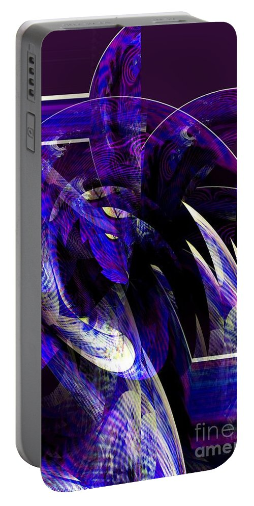 Deep Portable Battery Charger featuring the digital art Deep Purple Abstract by Maria Urso