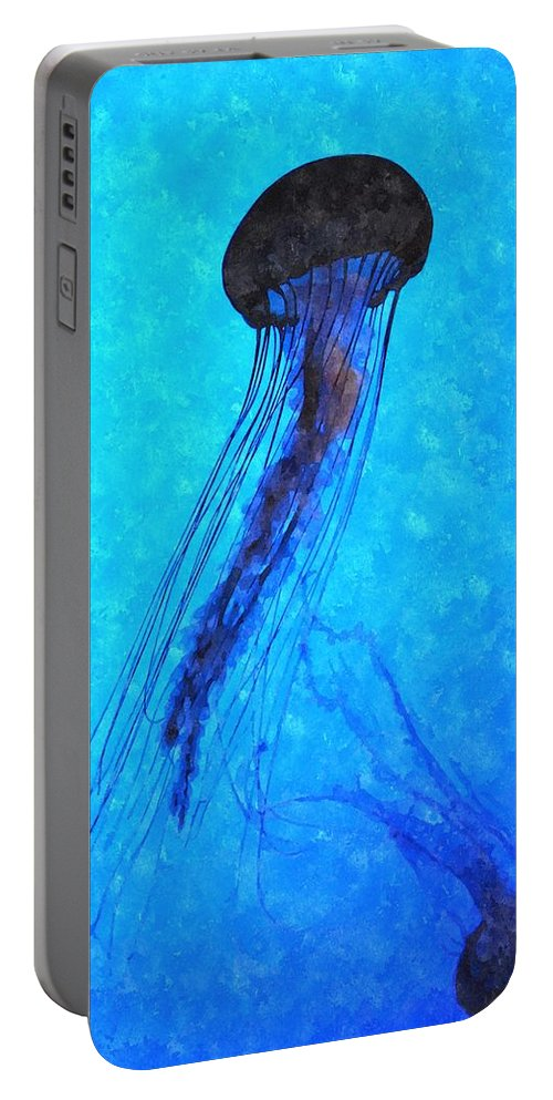 Jellyfish Portable Battery Charger featuring the digital art Deepsea Serenity Dswc by Jim Brage