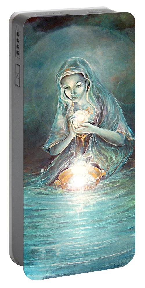 Fantasy Portable Battery Charger featuring the painting Deliverance by Penny Golledge