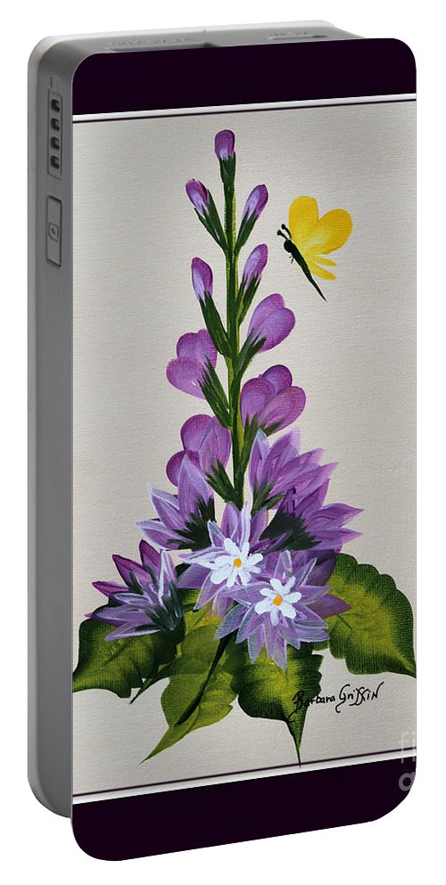 Delphenium Portable Battery Charger featuring the painting Delphenium And Butterfly by Barbara Griffin