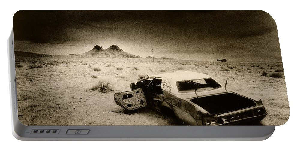 Car; Wreck; Abandoned; Lonely; Ghostly; Bullet Holes Portable Battery Charger featuring the photograph Desert Arizona Usa by Simon Marsden
