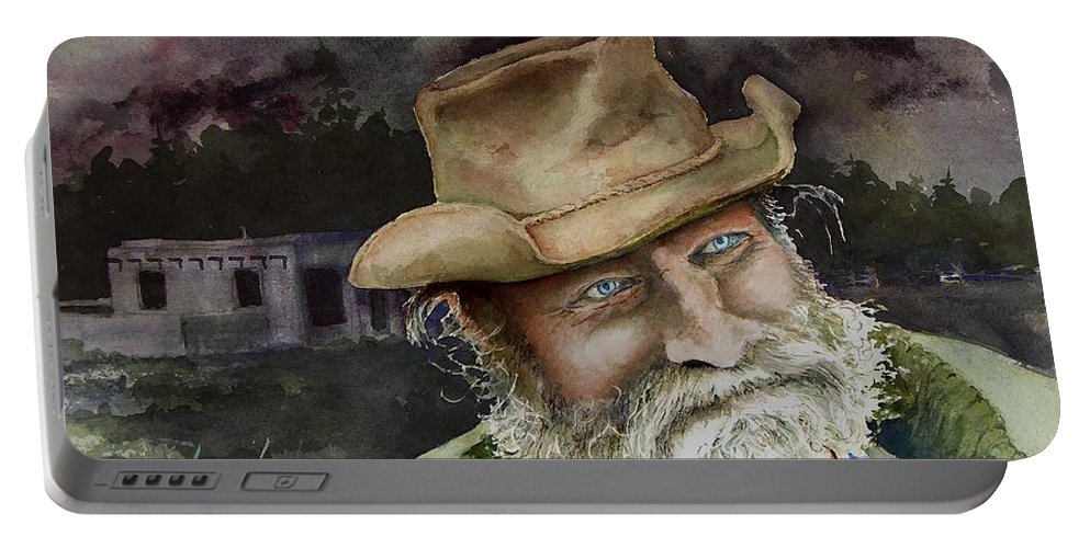 Hat Portable Battery Charger featuring the painting Desert Pete by Sam Sidders