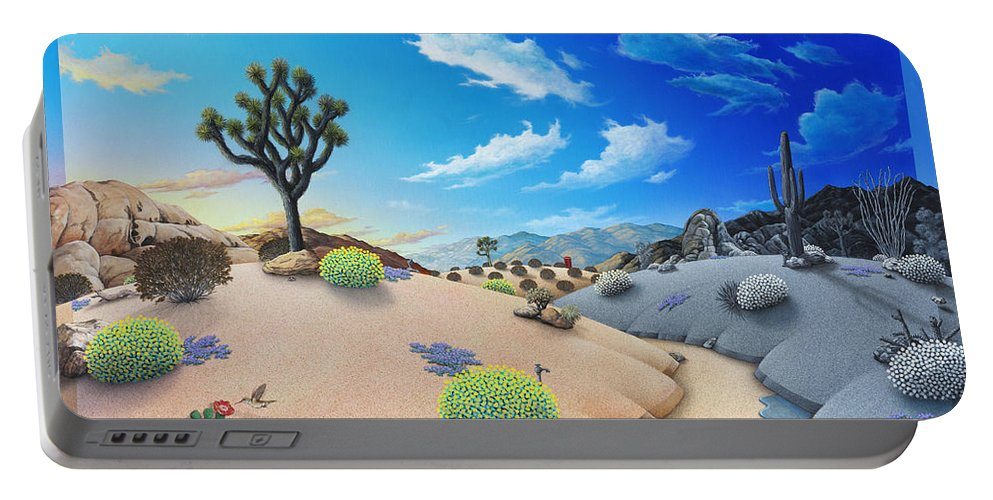 Desert Portable Battery Charger featuring the painting Desert Timeline by Snake Jagger
