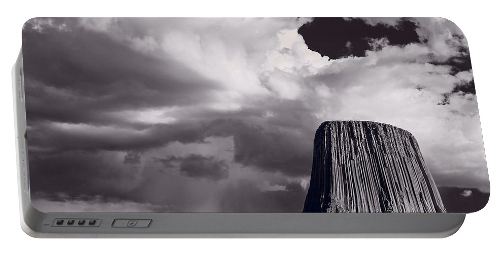 Devils Portable Battery Charger featuring the photograph Devils Tower Wyoming Bw by Steve Gadomski