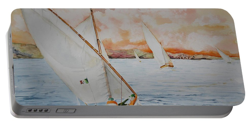 Sassu Portable Battery Charger featuring the painting Di Bolina Verso L'isola by Giovanni Marco Sassu
