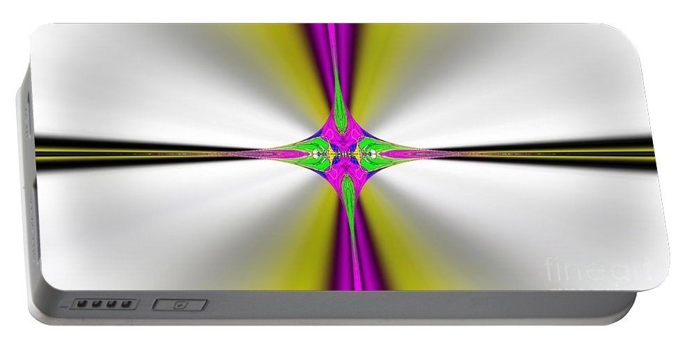 Fractal Portable Battery Charger featuring the digital art Digital Cross by George Pedro