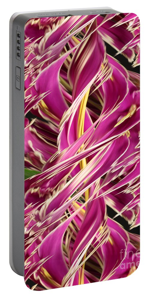 Design Portable Battery Charger featuring the photograph Digital Streak Image Of African Violets by Ted Kinsman