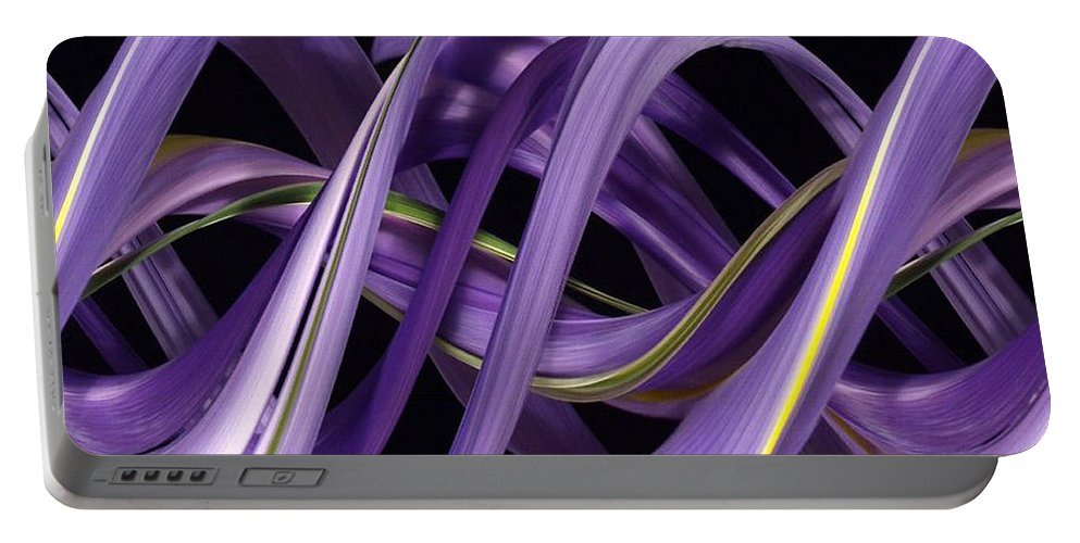 Design Portable Battery Charger featuring the photograph Digital Streak Image Of An Iris by Ted Kinsman