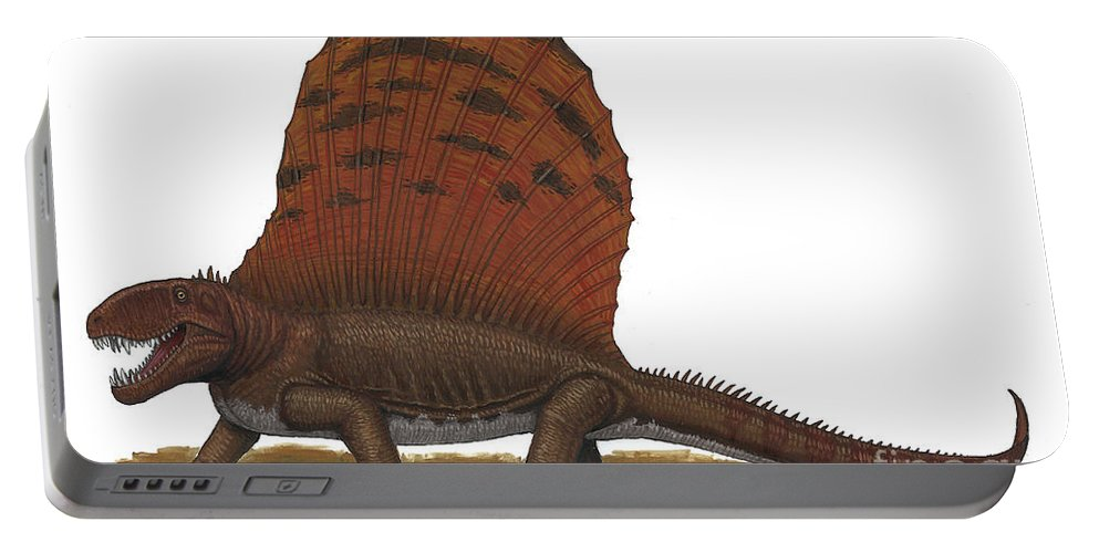 No People Portable Battery Charger featuring the digital art Dimetrodon, An Apex Predator by Heraldo Mussolini