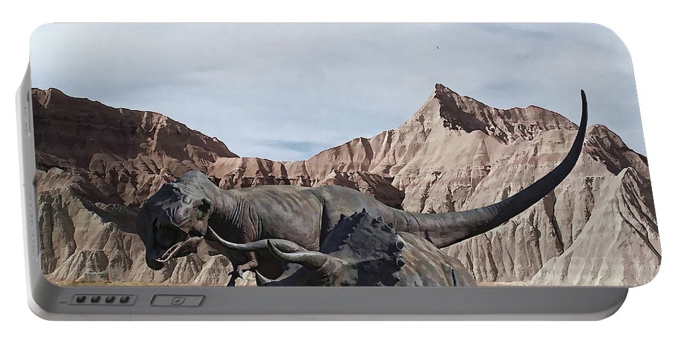 Dinosaurs Portable Battery Charger featuring the digital art Dino's In The Badlands by Tommy Anderson