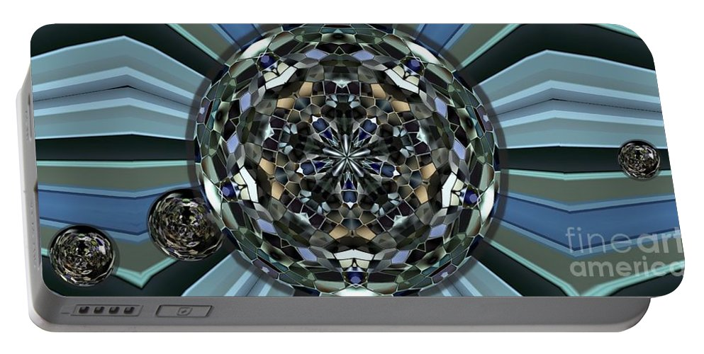 Collage Portable Battery Charger featuring the digital art Disco Ball by Ron Bissett