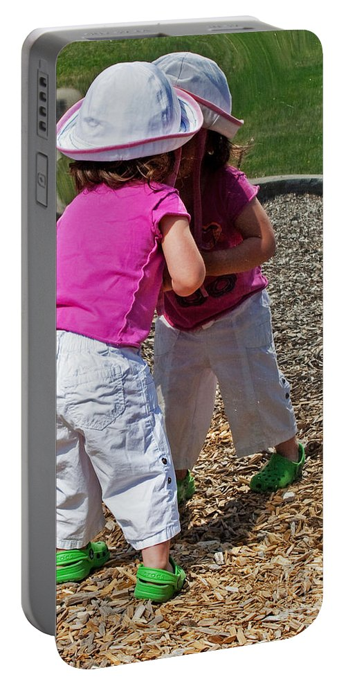 Child Portable Battery Charger featuring the photograph Discovering A Friend by Barbara McMahon