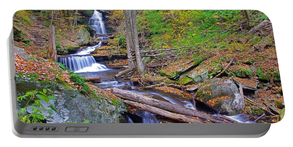 Pennsylvania Portable Battery Charger featuring the photograph Distant Ozone Falls And Rapids In Autumn by Rich Walter