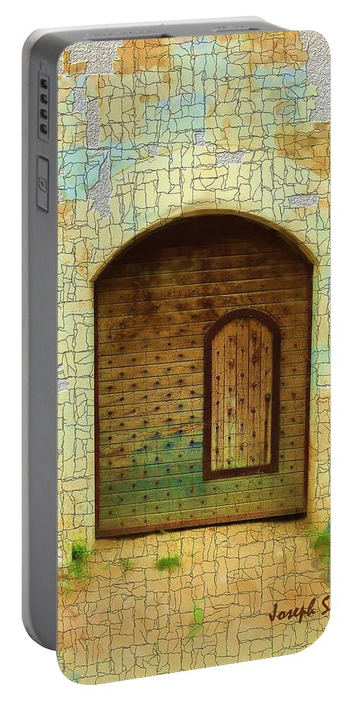 Digital Paintings Portable Battery Charger featuring the photograph Do-00489 Old Door Within A Door-crackles by Digital Oil