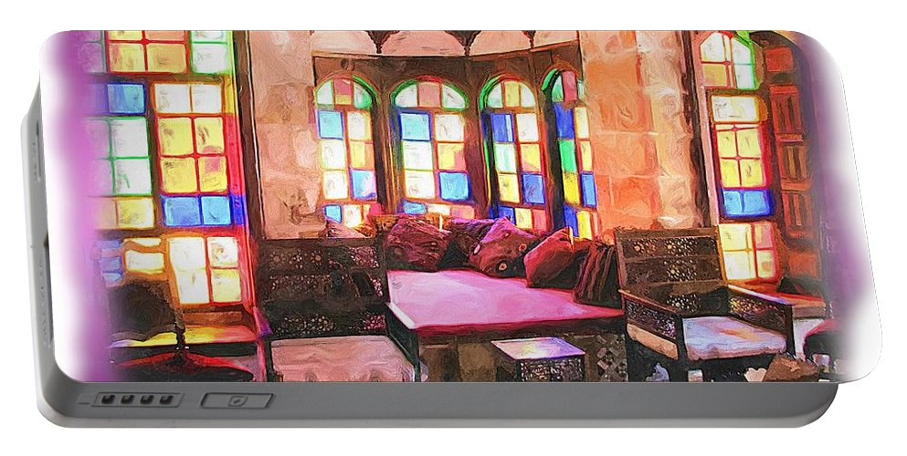 Palace Portable Battery Charger featuring the photograph Do-00520 Emir Bachir Palace Interior-violet Bkgd by Digital Oil