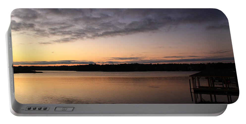 Sunrise Portable Battery Charger featuring the photograph Dock In The Dark by Catie Canetti