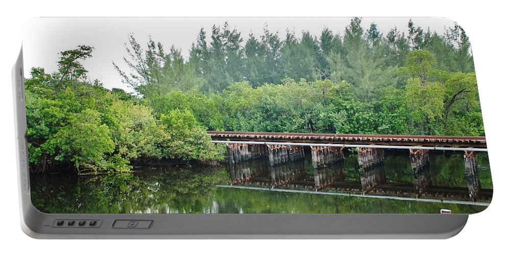 Red Portable Battery Charger featuring the photograph Dock On The North Fork River by Rob Hans