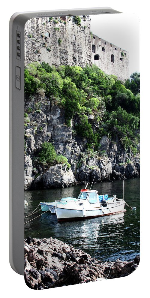 Boat Portable Battery Charger featuring the photograph Docked At Sea by La Dolce Vita