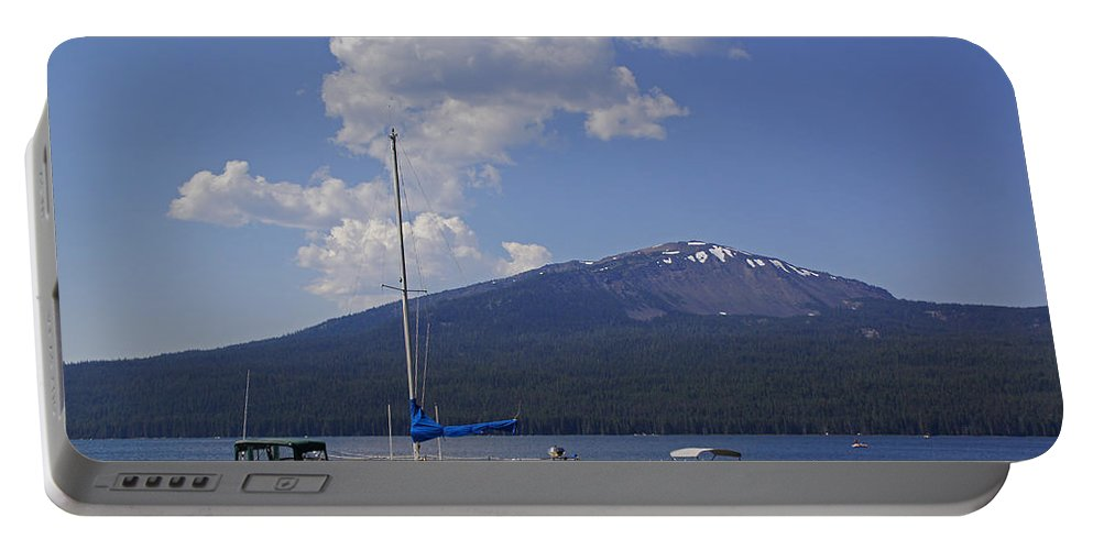 Diamond Lake Portable Battery Charger featuring the photograph Docks At Diamond Lake by Mick Anderson