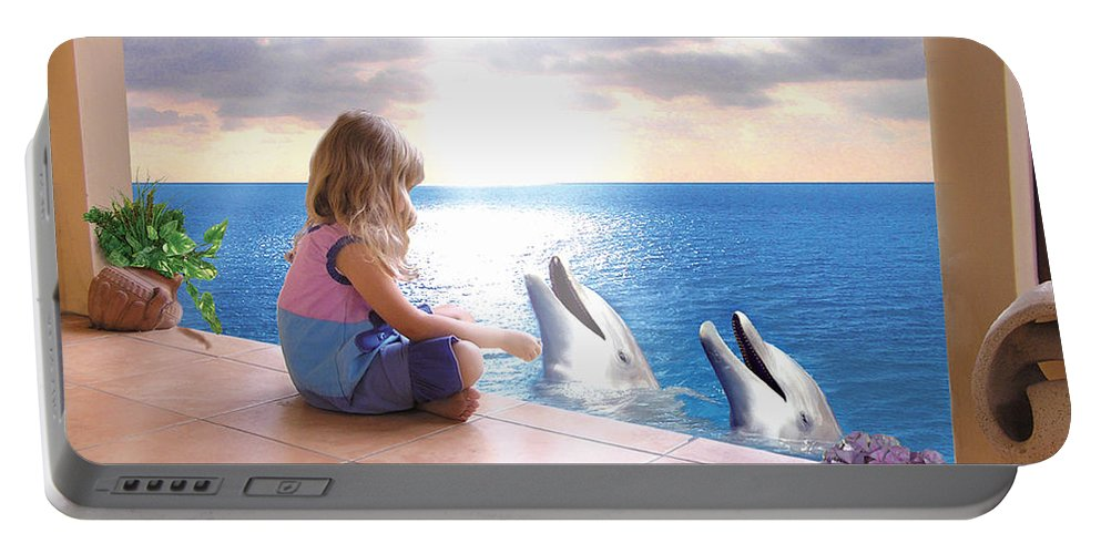 Dolphin Portable Battery Charger featuring the photograph Dolphin Family by Bobbie S Richardson