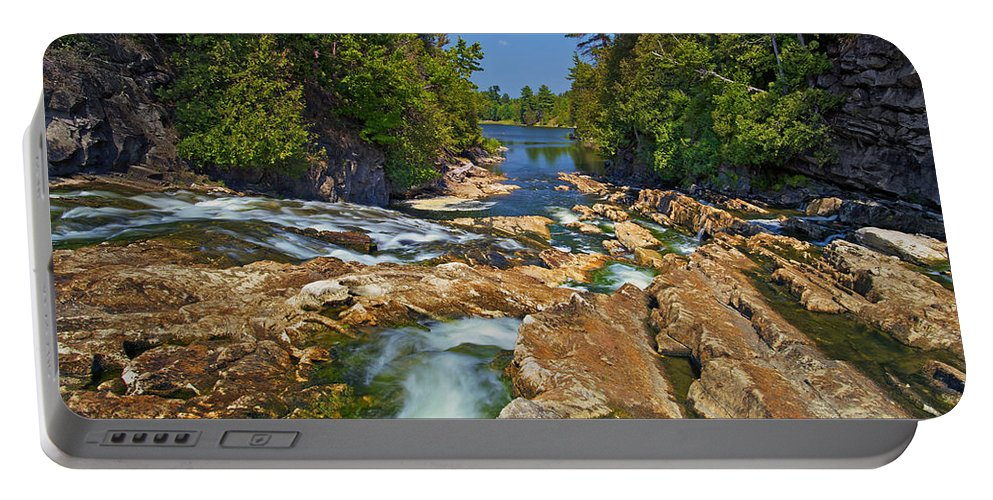 Bedrock Portable Battery Charger featuring the photograph Down The Bonnechere by Phill Doherty