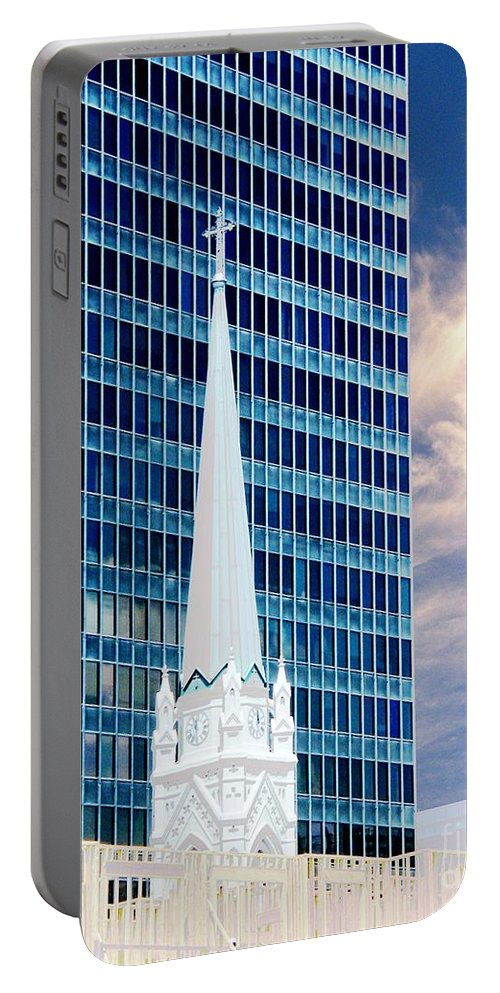 Architecture Portable Battery Charger featuring the photograph Downtown Blues by Lizi Beard-Ward